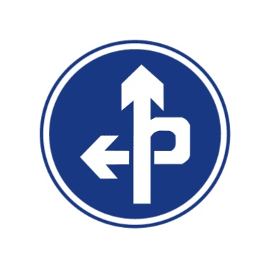 立交直行和左转弯行驶标志图片